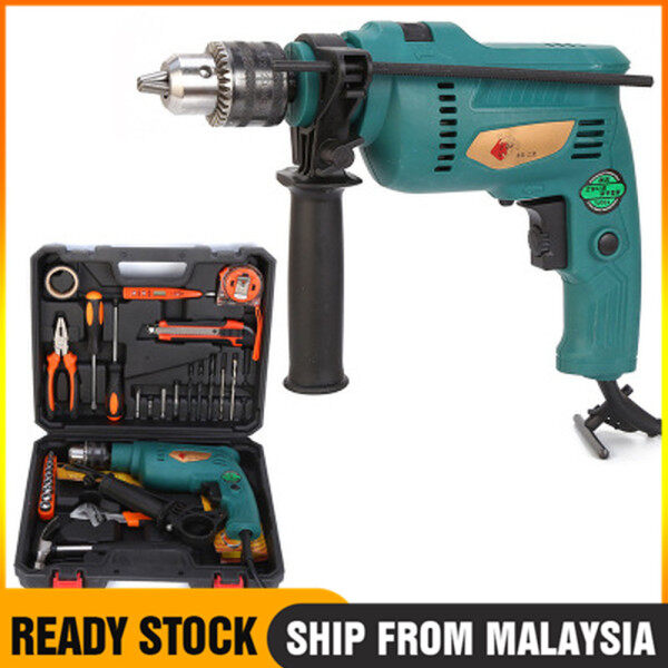 【Ready Stock】1880W Impact Drill Set 2 Mode 100% Full Copper Hammer Impact Drill  Motor 13mm electric drill set drill, wood drill, DIY work, complete with 1 year warranty.