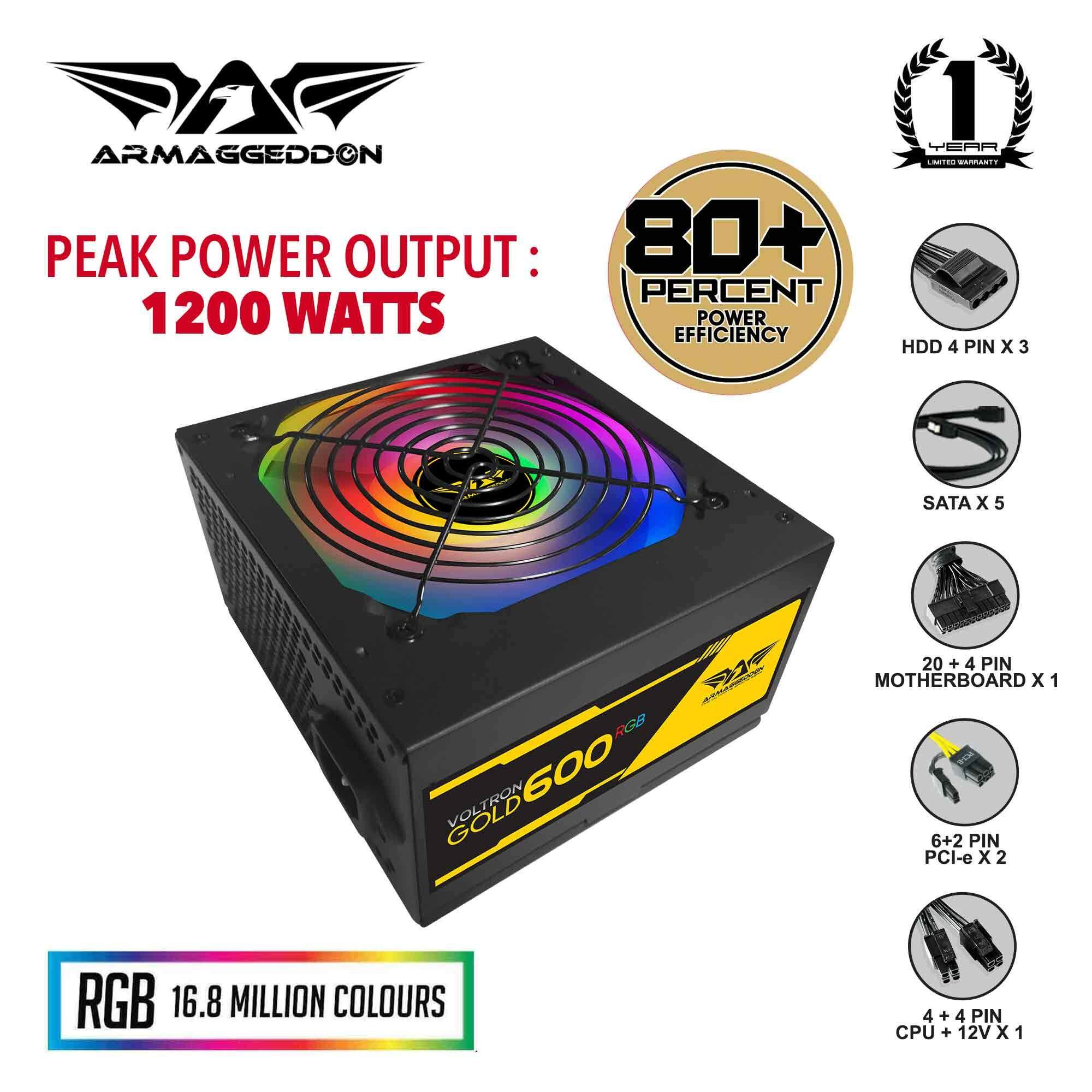 Armaggeddon Voltron Gold 600 RGB Power Supply Unit with 120mm RGB Silent  Fan (Pure Power Rated 600 Watts)