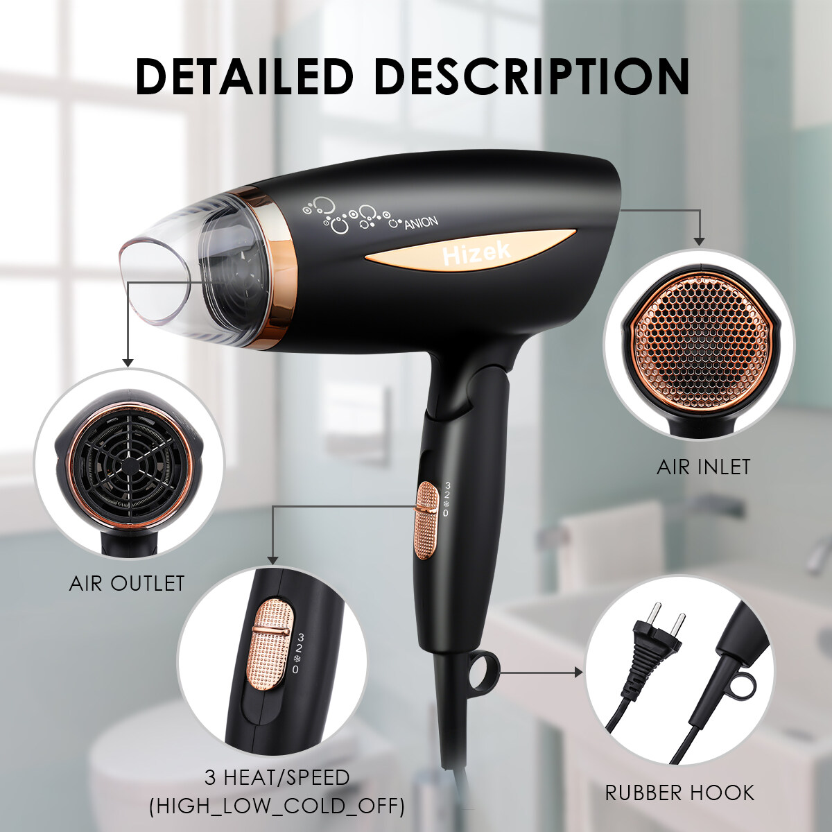 Hizek Professional Hair Dryer 2000W, Compact Travel Ionic Hair Dryer with 3 Heat Levels & 3 Air Flow Control Speeds, Black