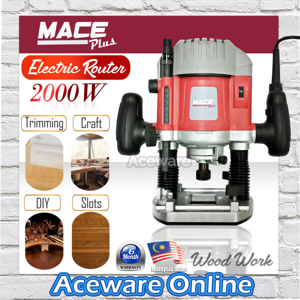 MACE PLUS MT-ER2000 2200W ELECTRIC ROUTER 12MM COLLET WOODWORKING TRIMMING MACHINE WITH ACCESSORIES