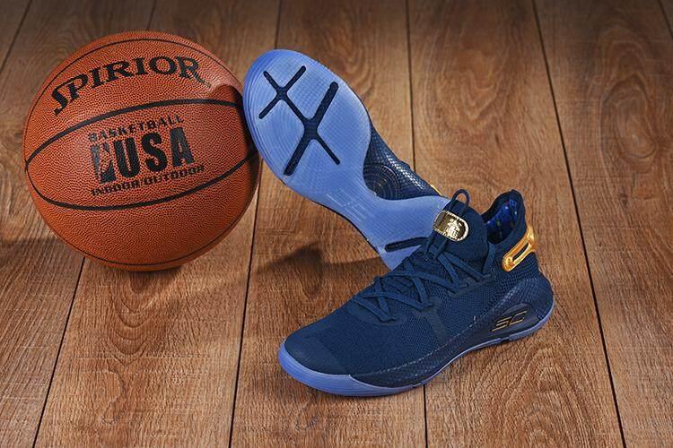 Under Armour Resmi Curry 6 Low Top Pria Basketaball Sepatu Biru Tua Emas  Penjualan Global 21c46734a1