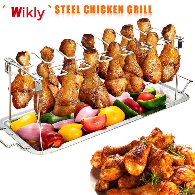 Wikly Gà Inox Cánh Chân Giá Bếp Nướng Giá Đỡ Với Nhỏ Giọt Chảo Nấu Nướng BBQ
