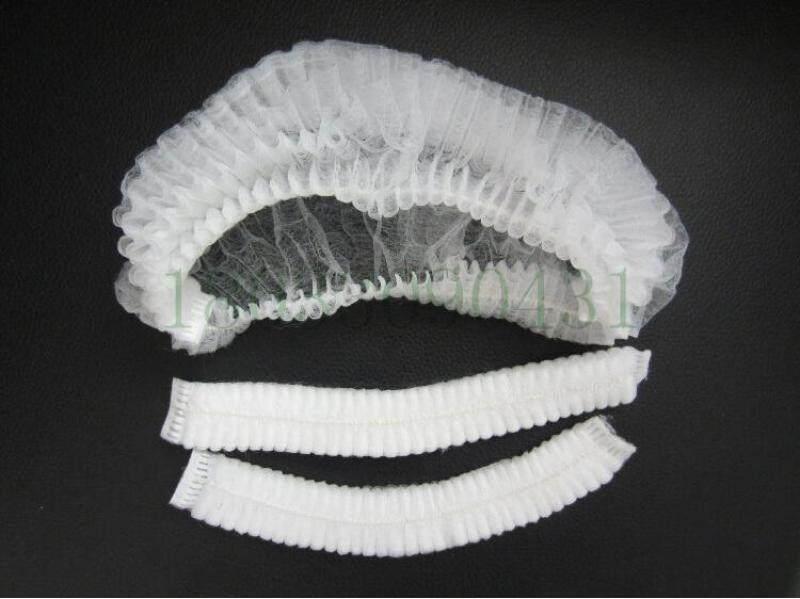 """100pcs/bag, 21"""" Double Elastic Disposable Non-woven Hair Net/ Mop Cap/Clip Cap/Bouffant Cap/Anti Dust Clip, Blue/White"""