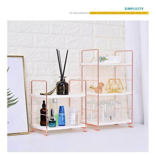 BuyBowie Simple Casual 2-Shelf Shelving Unit,Multi-Purpose Storage Rack for Household Use In The Kitchen Bathroom Room, Gold-Plated