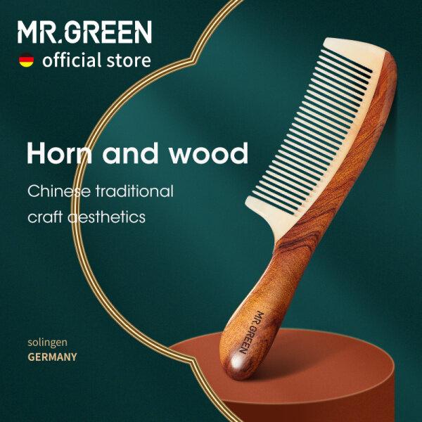 MR.GREEN Comb Gỗ Tự Nhiên Với Cấu Trúc Nối Sừng Lược Chải Tóc Răng Tốt Chống Static Head Massage Huyệt Quà Tặng