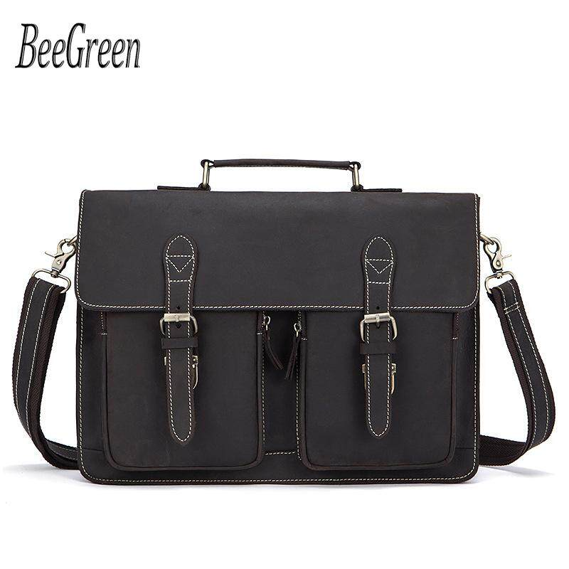 09206a436c728 BeeGreen Crazy Horse Men's Genuine Leather Briefcase Male Totes Messenger  Bags Business Laptop Bag for Men