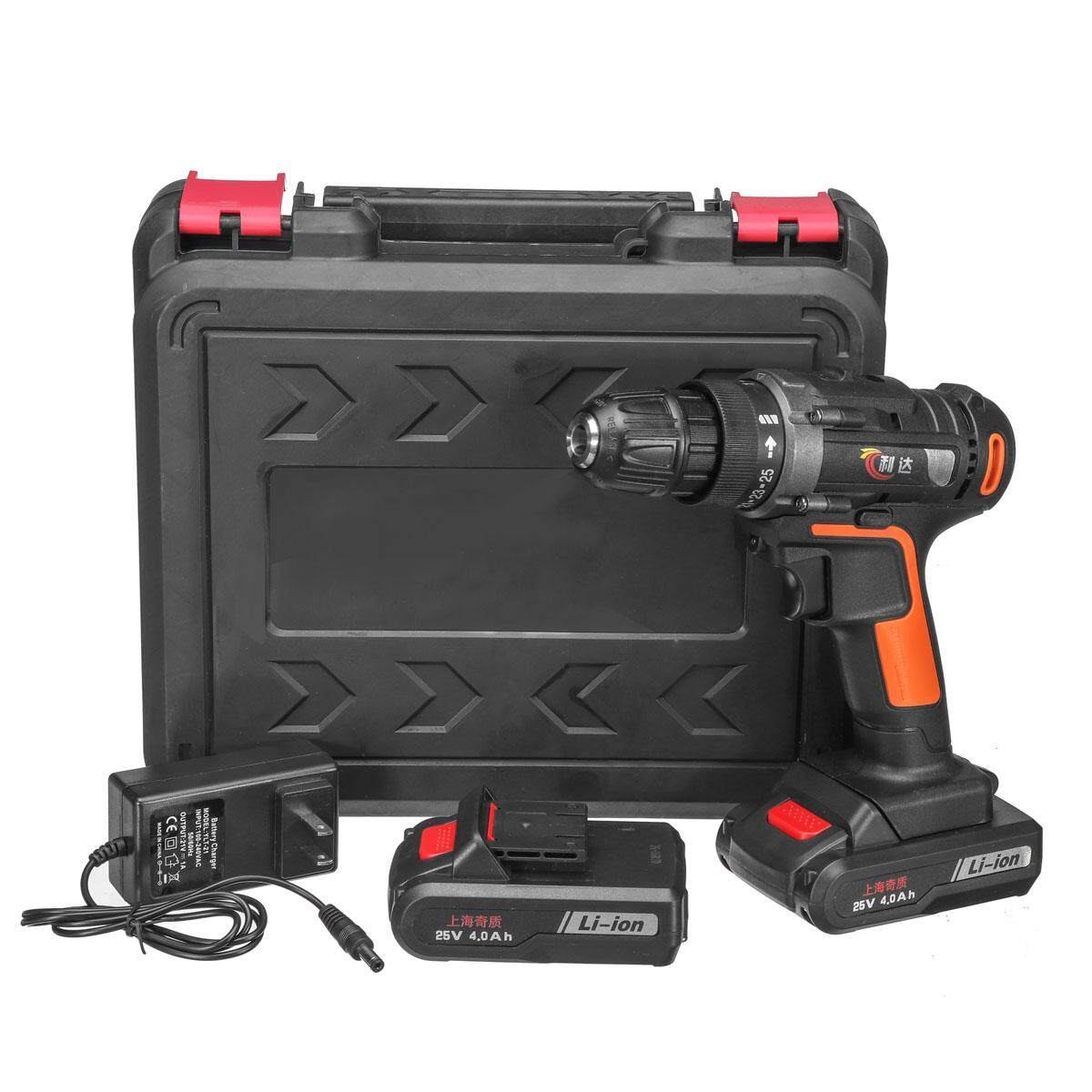 25V 25+1 Cordless Electric Drill 48Nm Screw Driver +2x4000mAh Li-Battery And Charger