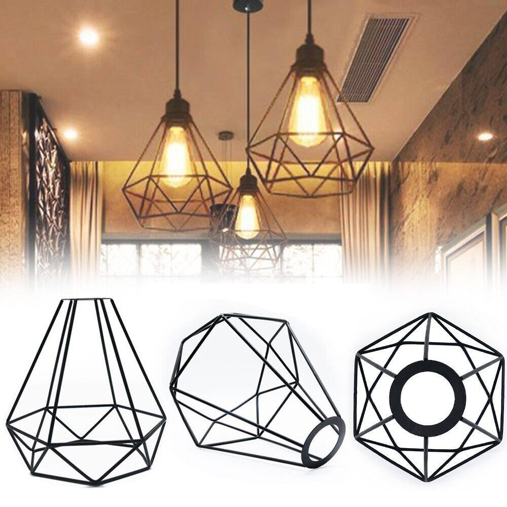 Vintage Metal Lamp Shade Ceiling Shade Lamp DIY Lampshade Industrial Lamp Water Shape Cage Classic Black Nordic Bulb Cover