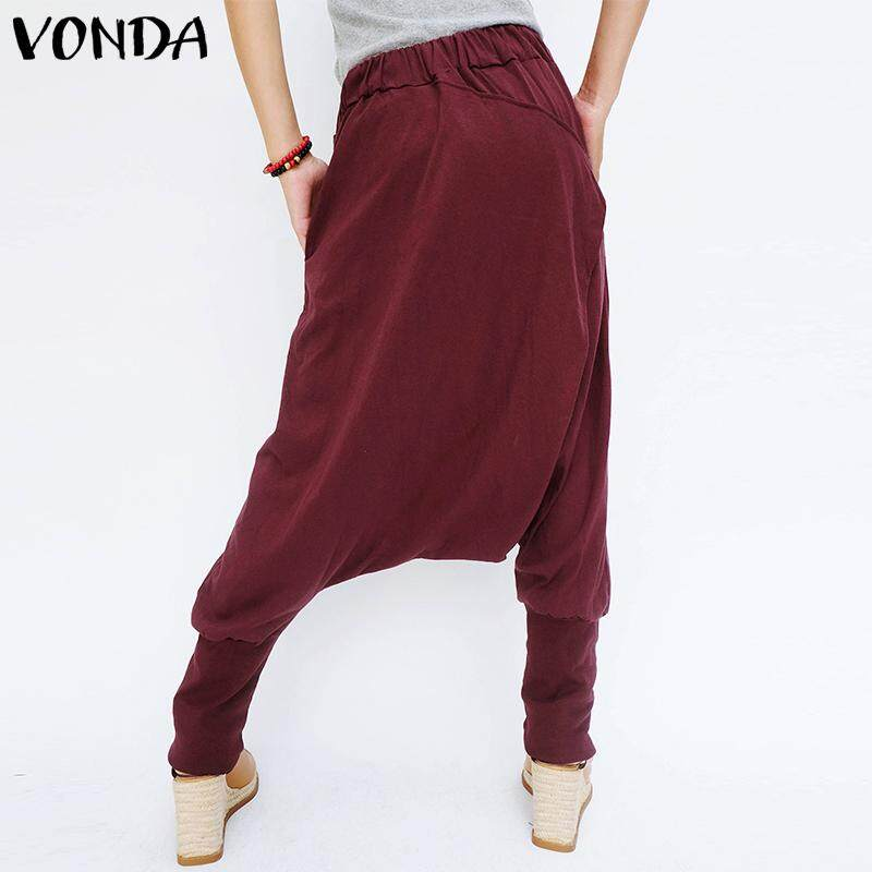 Vonda Women Loose Baggy Long Pants Harem Elastic Waist Drop Crotch Casual Trousers By Audew.