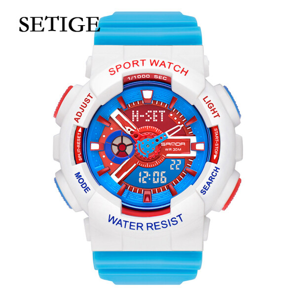 SETIGE Kids Watch New Multi-function Sports Electronic Watch Dual Display Student Watch Hipster Harajuku Color Jelly Children Watch Malaysia