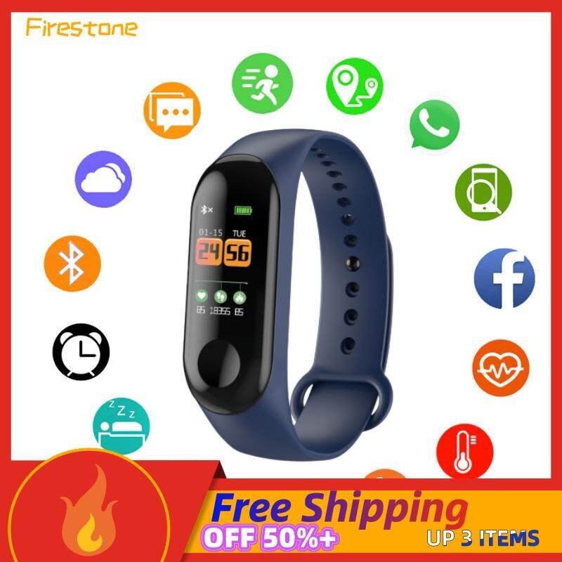 Firestone M3 Smart Bracelet Band Watch Monitor Bracelet Heart Monitor Band Pedometer Sleep Monitoring Bluetooth Waterproof Fitness Tracker Calling Wristband For IOS And Android