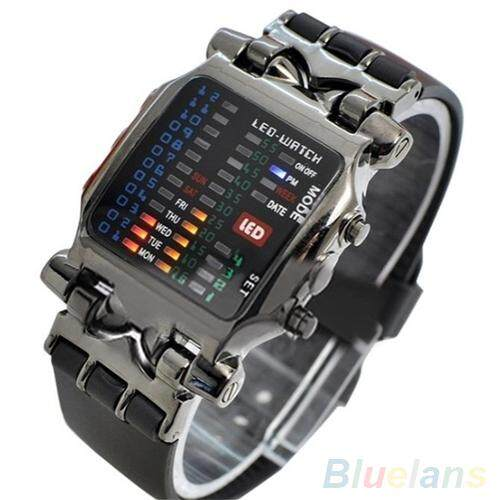 Bluelans ® Unisex Binary LED Digital Date Square Dial Casual Sport Plastic Band Wrist Watch Malaysia