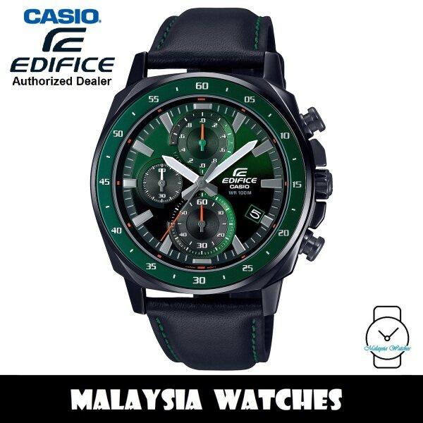 (OFFICIAL WARRANTY) Casio Edifice EFV-600CL-3AVUDF Quartz Chronograph Dark Green Dial Black Leather Strap Mens Watch EFV600CL EFV-600CL-3A Malaysia