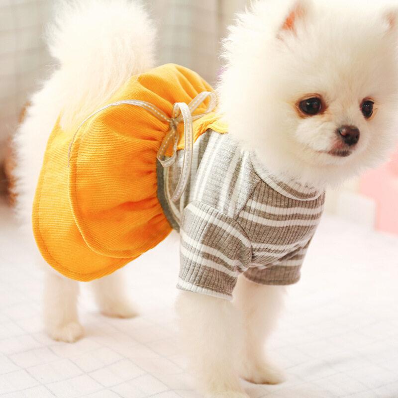 Quần Áo Cho Chó Kakaoppa Đầm Ấm Áp Vải Nhung Kẻ Sọc Cotton Cổ Lọ Cho Chó Cho Chó Cái Chó Nhồi Bông Shihtzu Pomeranian Chow