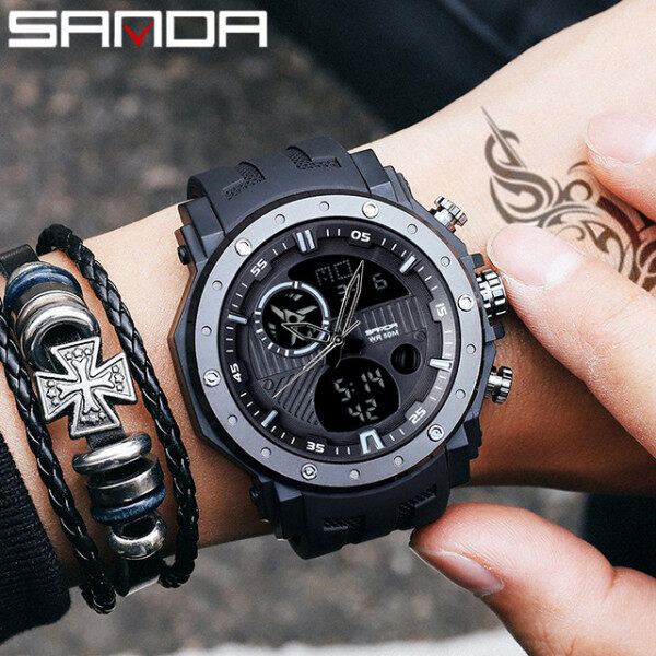 SANDA Top Brand Luxury Military Quartz Watch Sport Waterproof 50M Clock Chronograph Back Light Stop Watch Analog Digital Watch Male Malaysia