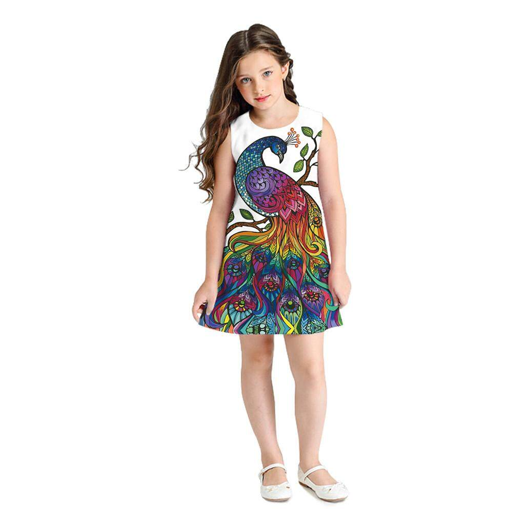 Rayeshop Teen Toddler Kid Girl Sleeveless 3d Cartoon Print Cartoon Dresses Casual Clothes【reference Size Chart】 By Rayeshop