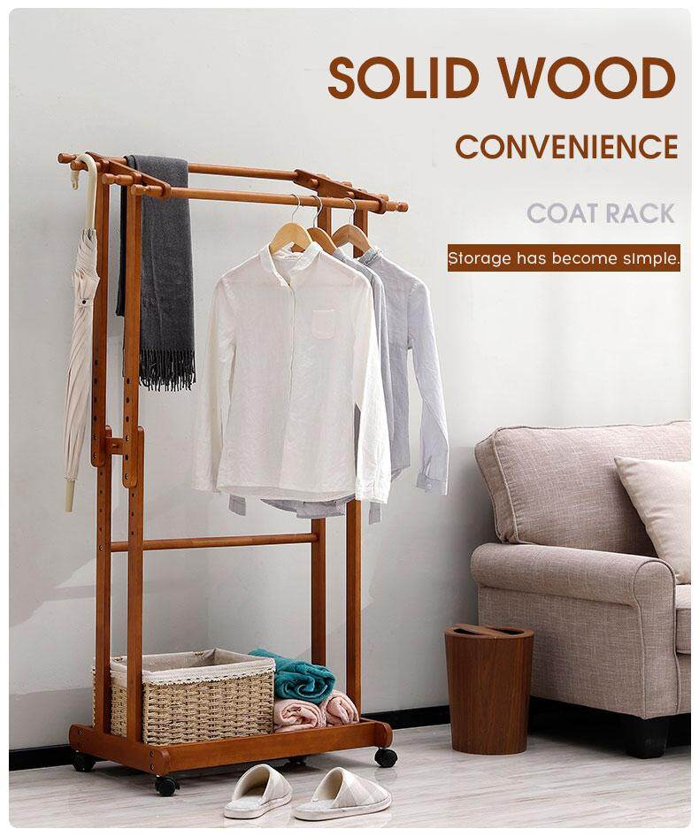 Solid wood clothes and hats rack landing lichen rack two-pole movable storage rack bedroom living room hanger