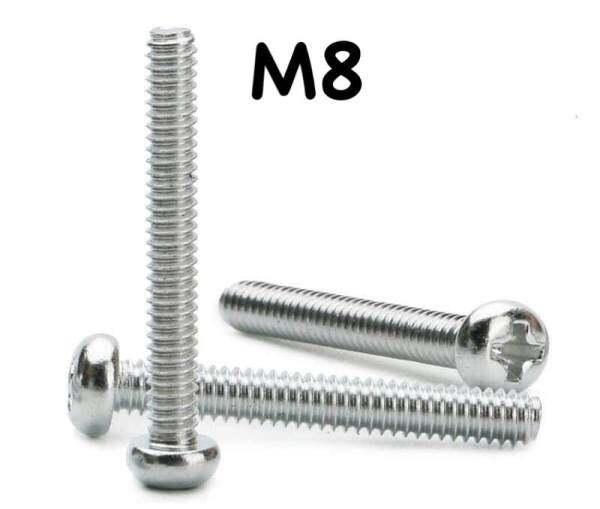 Phillips Round Pan Head Machine Screws ( M8 x 16MM - M8 x 60MM ) 1 Pair = 30 Pcs