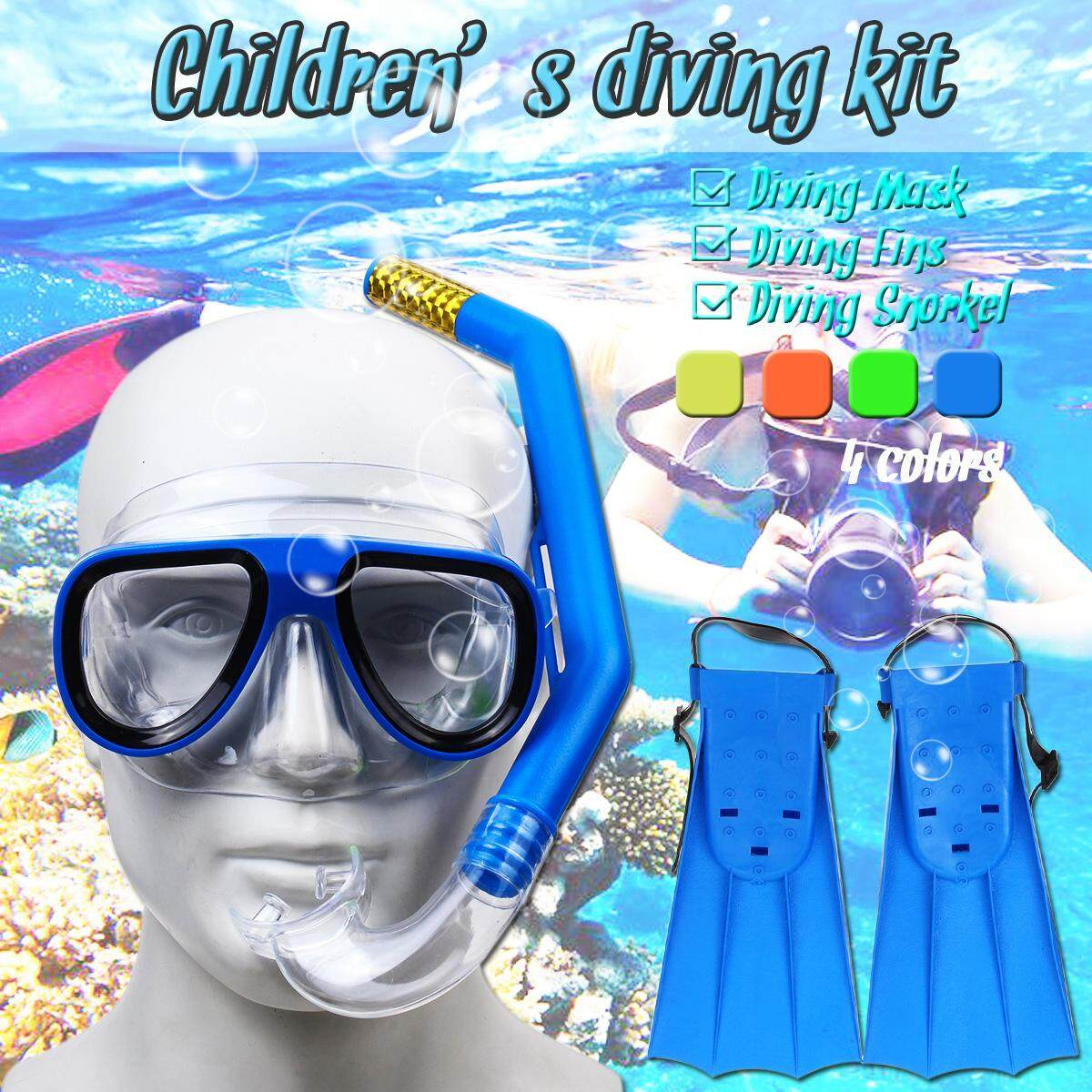 1942d8f83 3pcs set Underwater Diving Mask Snorkel Full Set Swimming Training Scuba  Anti Fog By Freebang