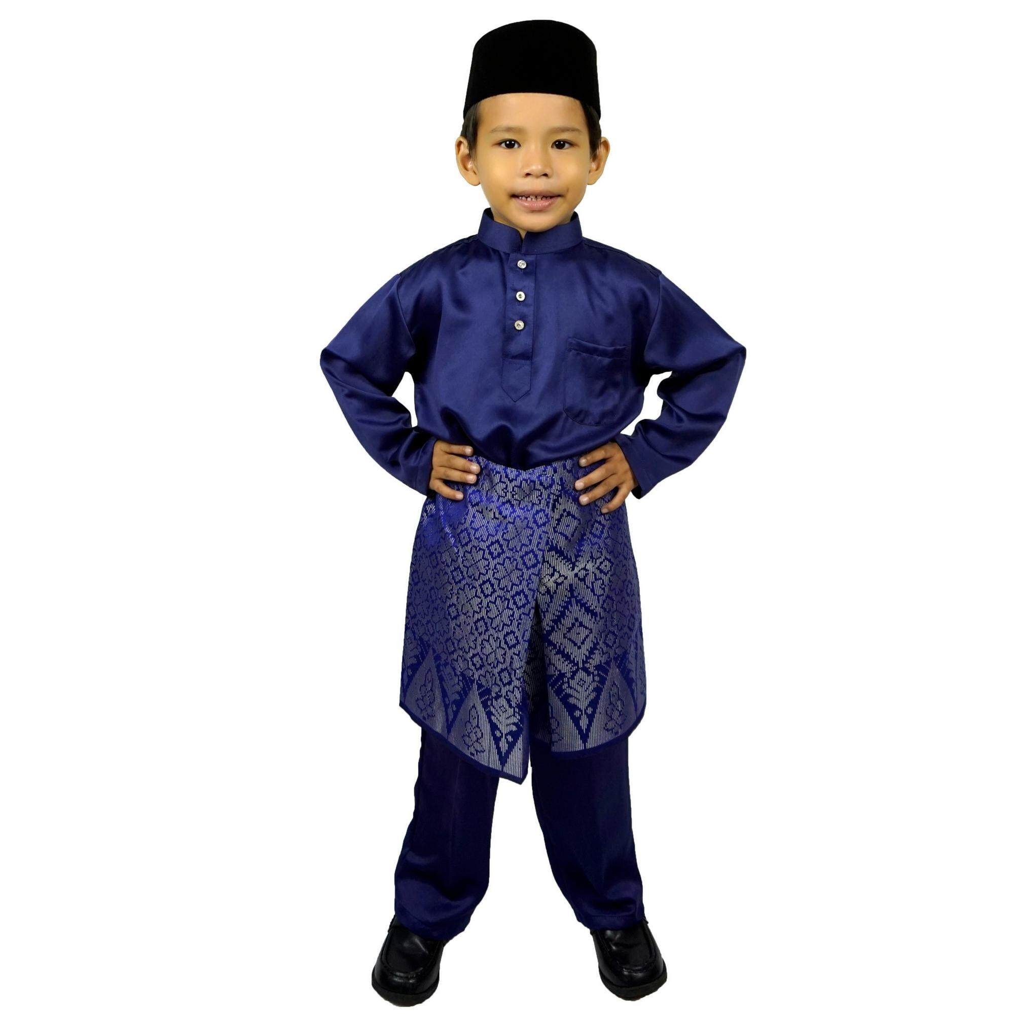 003bm - Baju Melayu Soft Cotton Budak - Navy Blue Colour By Pycollection.