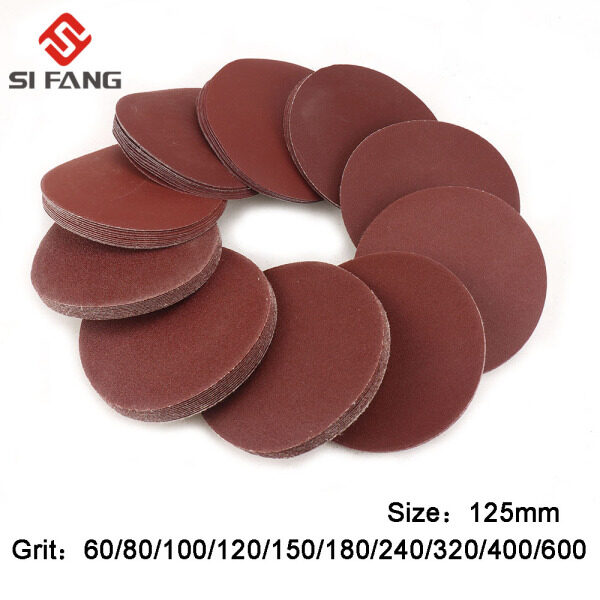 SI FANG 100Pcs 5Inch 125mm Wet and Dry Sanding Discs 40/60/80/100/120/180/240/320/400/600 Grit Mixed Orbital Sander Pad Hook & Loop Sandpaper for Rotary Tool