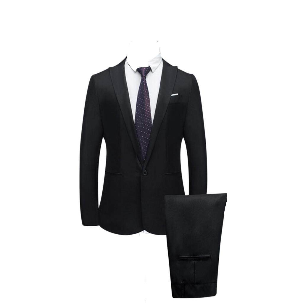 c2602476e752 Rainny Men s Slim Button Suit Pure Color Dress Blazer Host Show Jacket Coat    Pant