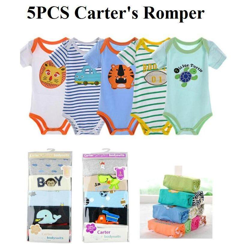 7ea284944b68 Carters Romper 5 pcs Pack Baby BOY Bodysuit Rompers (Random Design) 5 helai  Carter