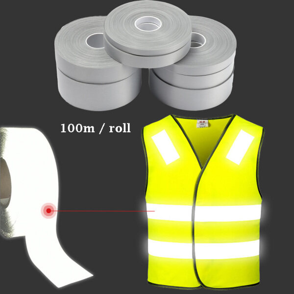 100m / roll New DIY Craft Bright Silver Fabric Warning Clothing Stickers Thermal Transfer Vinyl Film Reflective Tape