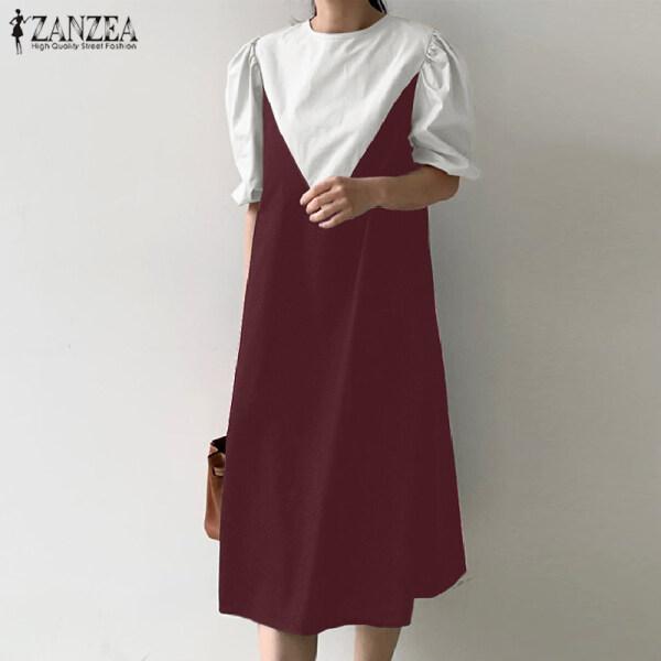 ZANZEA Áo Chui Đầu Dáng Rộng Thường Ngày Vải Lanh Cổ Tròn Tay Ngắn Cho Nữ Váy Áo Chui Đầu