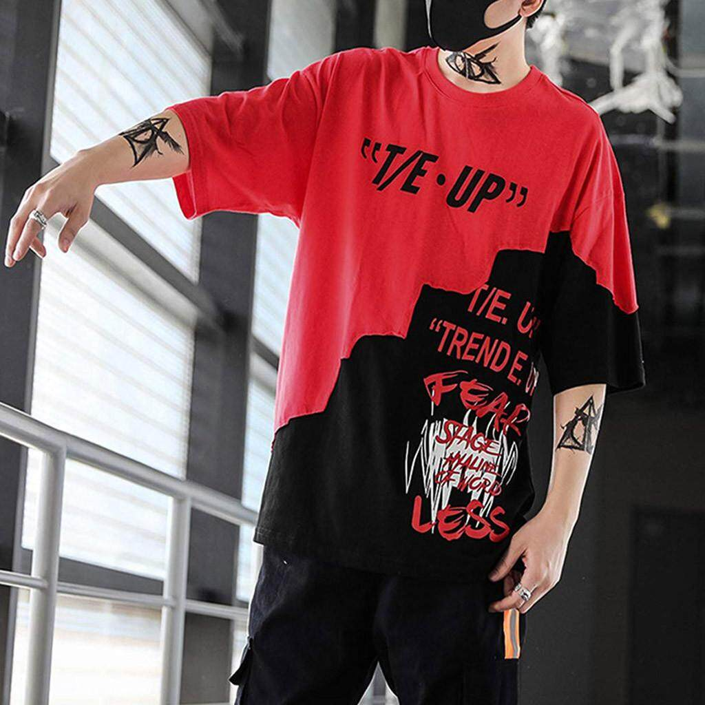 182bf8658f5 Malloystore Unisex Summer Streetwear Casual Hip-Hop Print letters Top  Blouse Pullover OEM