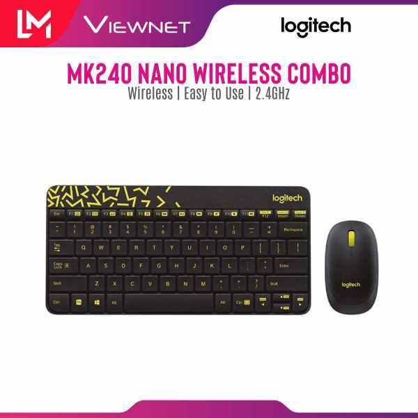Logitech Wireless Keyboard + Mouse Combo MK240 (Black/Chartreuse Yellow & White/Vivid Red) Malaysia