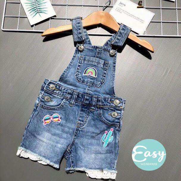 [3m-2y]baby Infant Girls Short Denim Jeans Patch Jumpsuit Pants Adjustable Strap By Easy Wearhouse.