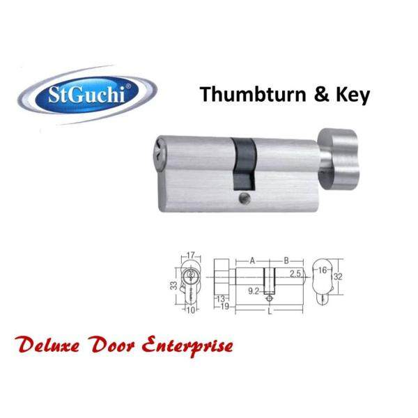 St Guchi Euro Profile Cylinder Thumbturn & Key 70mm