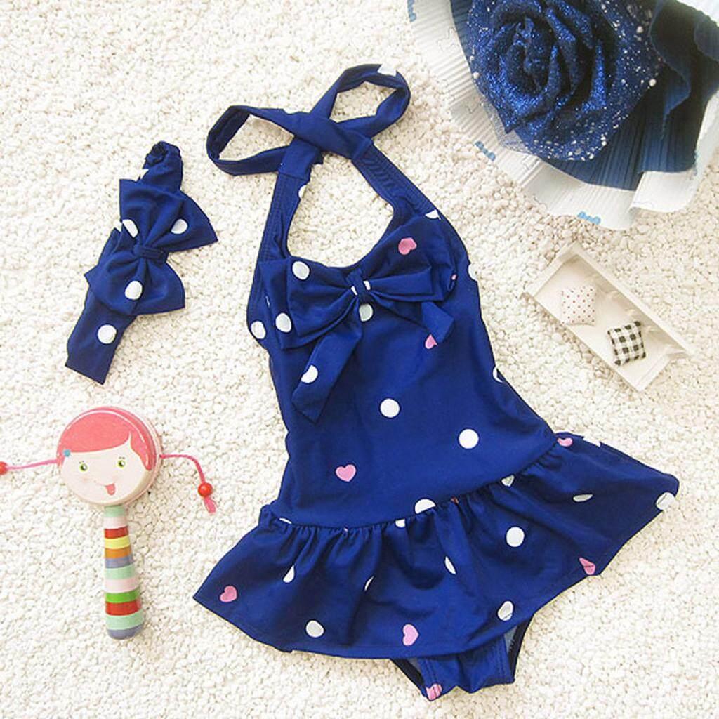 Warmihome 2019 Newborn Toddler Baby Girls Sleeveless Circle Dot Bowknot Headband Beach Swimwear By Warmihome.