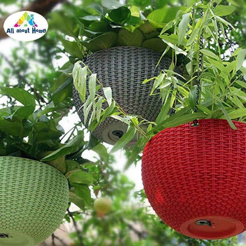 ABH Giỏ Treo Đồ Giả Mây Hoa Tròn Nhựa Khu Vườn Dụng Cụ Bào Trong Nhà Ngoài Trời