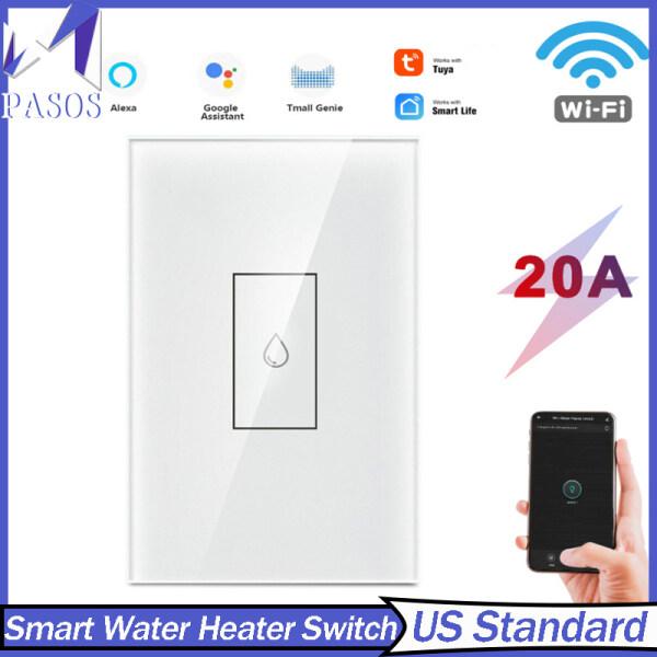 PASOS Công Tắc Máy Nước Nóng Thông Minh TUYA 20A Công Tắc Gắn Tường Cảm Ứng Wifi Tiêu Chuẩn Mỹ, Hỗ Trợ Điều Khiển Từ Xa Cho Điện Thoại Di Động Với Google Home Và Alexa
