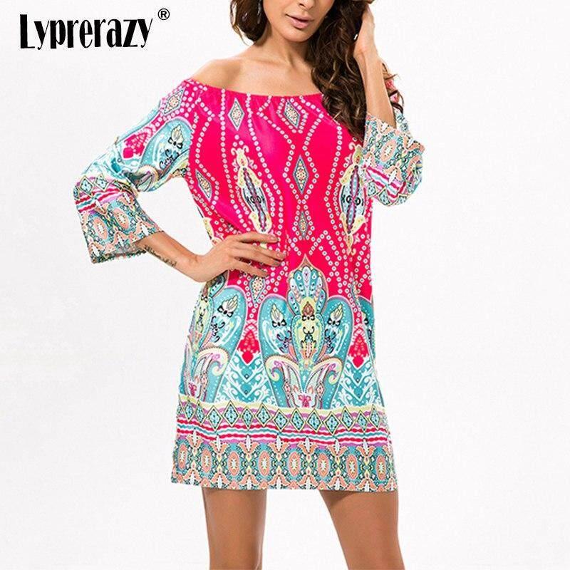 f1134f88eea Lyprerazy Holiday Ethnic Bohemian Boho Flower Print Off Shoulder Summer beach  Dress Women Casual Vintage Women