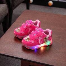 27 Trẻ Em Nữ Giày Miếng Dán Ma Thuật In Hình Phim Hoạt Hình Sneaker Với Đèn Led