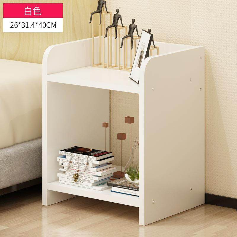 wood bedside table space saving cabinet storage organizer night stand brief style