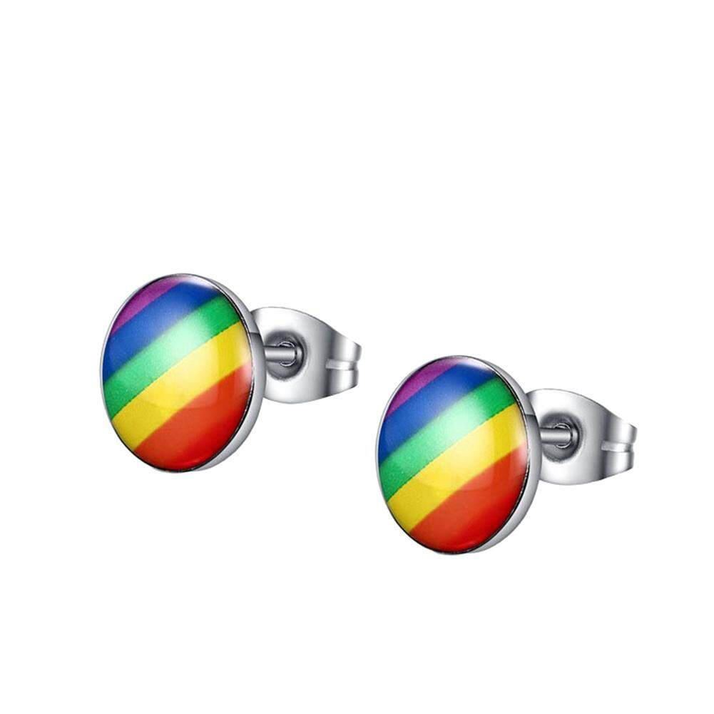 Livecity Fashion Round Rainbow Warna Anting Telinga Wanita Klub Hadiah Perhiasan Anting-Anting