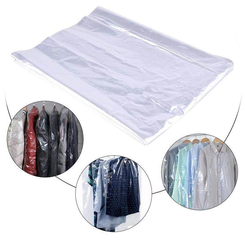 50PCS 2.2 silk transparent dust cover dry cleaner dust bag plastic wall-mounted bag home storage bag plastic transparent polyethylene clothing cover vacuum storage clothes storage bag_ 60*150CM