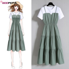 Váy dài hai mảnh goopepal cho nữ dáng rộng phong cách thời trang mặc hàng ngày hoặc đi hàng ngày