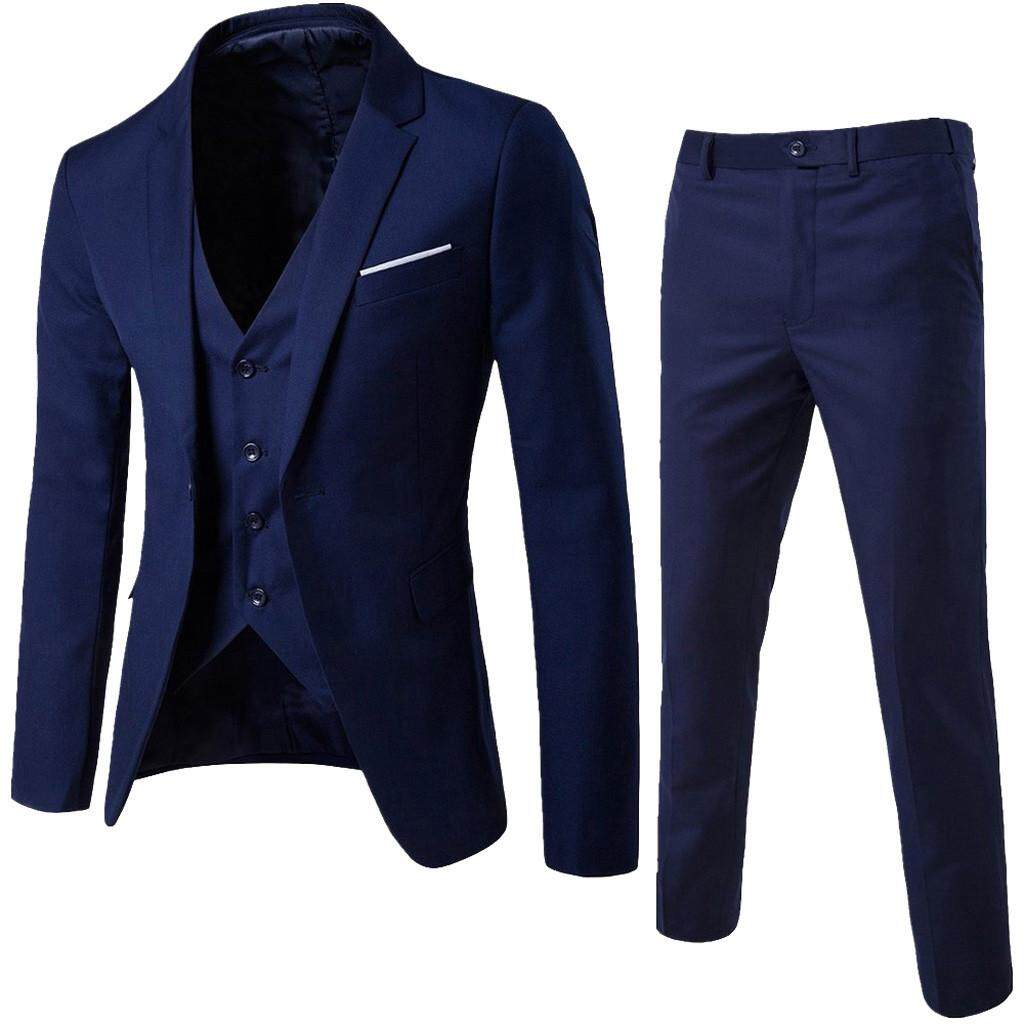 fae3d2847f LiJiangangstore 2019 Men's Suit Slim 3-Piece Suit Blazer Business Wedding  Party Jacket Vest &