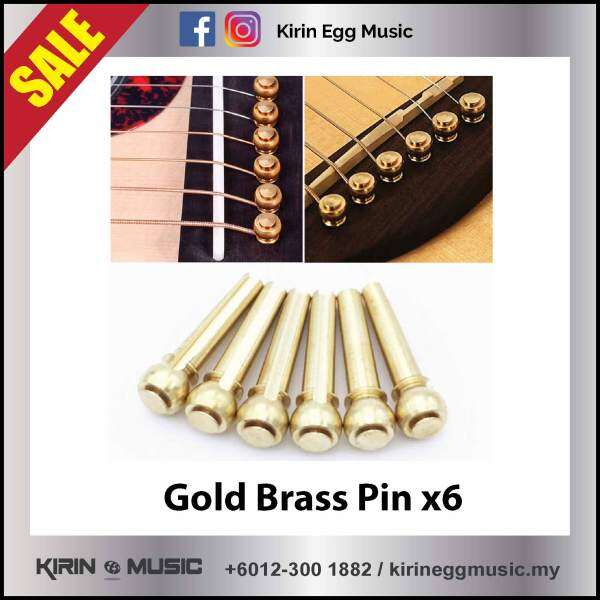 Acoustic Guitar Solid Copper Brass String Bridge Pin 6pcs Replacement Parts End Pin Gold with Case Malaysia