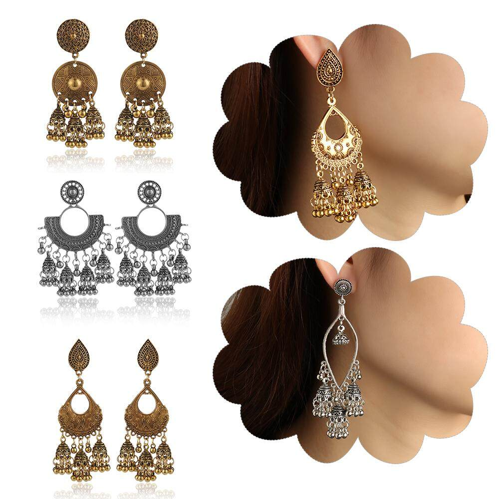 1pair Ethnic Fashion Women Sector Gold Jhumka Earrings Indian