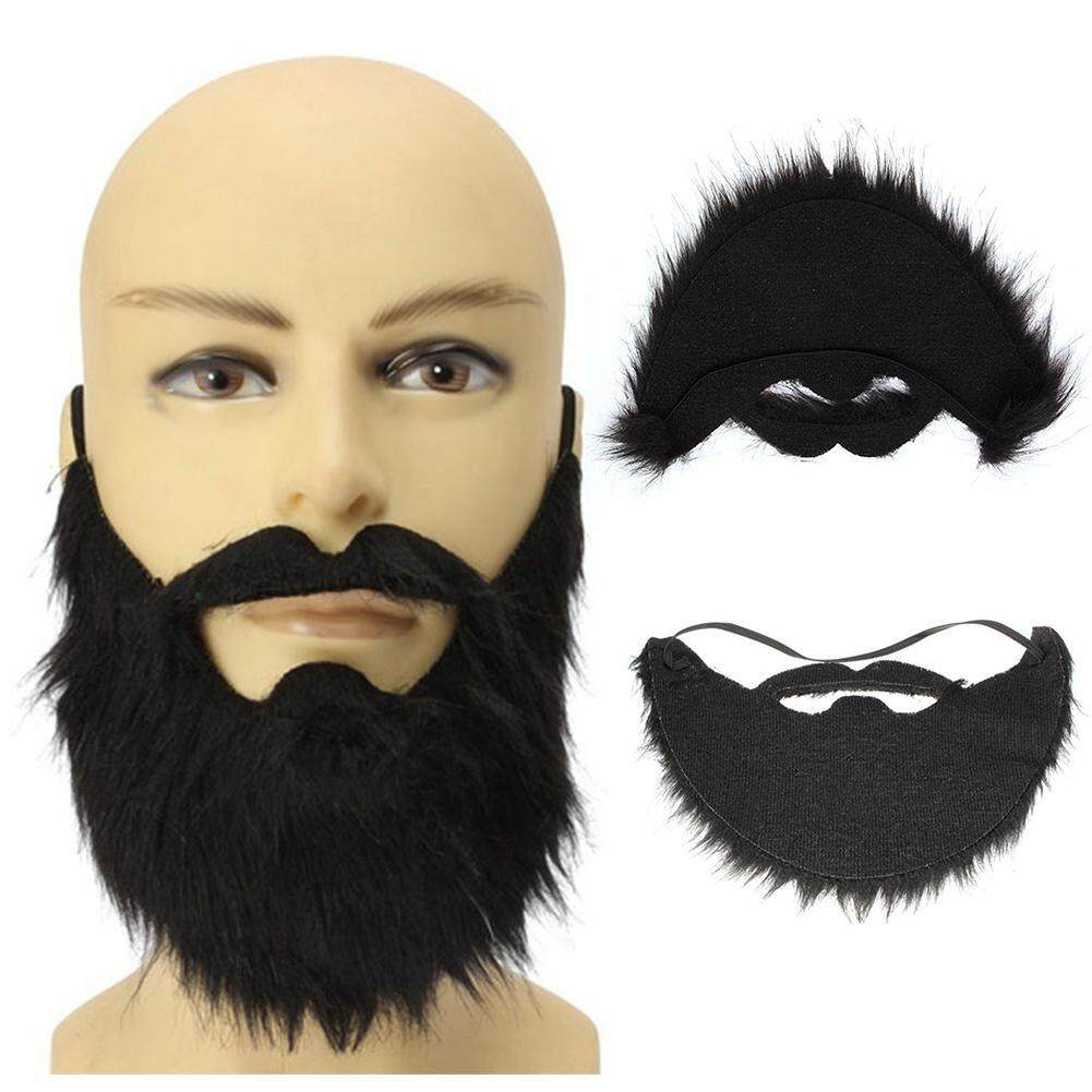 1* Funny Costume Prom Props Halloween Fake Beard Facial Hair Fancy Dress Moustache Wig