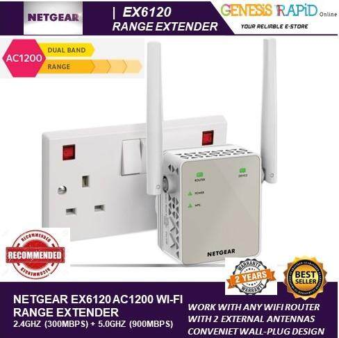 (GIN) NETGEAR EX6120 AC1200 DUAL BAND WIFI RANGE EXTENDER- ESSENTIALS  EDITION