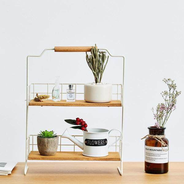 Simple Series with Handle Storage Rack Iron Art Cosmetics Storage Rack Kitchen Organizing Rack Desktop Storage Shelf