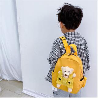 Kindergarten School Bag, Kids Backpack with Plush Bear, Lightweight & Breathable - Nylon Boys Girls Schoolbag Cartoon Bag thumbnail
