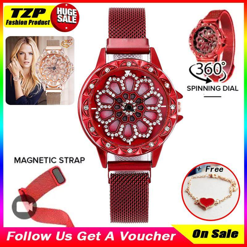 [With 1 Fashion Bracelet]TZP Store Hot Sale Geneva Korean Fashion 360 Degree Spinning Flower Womens Watch Starry Sky Rotating Dial Gold Stainless Steel Strap Milanese Mesh Strap Magnetic Buckle Ladies Wrist Watches Clock Gift Malaysia